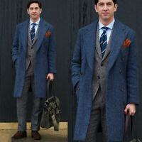 Men's Blue Herringbone Overcoat Outwear Six Button Wool Long Suit Vintage Custom