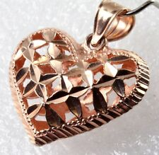 14K Rose Gold Puffy Heart Pendant Diamond Cut Filigree Cutie