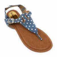 Victoria K. Womens  T-strap Sandals Flats Thongs polka dot denim  4 colors