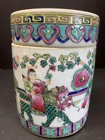 VTG 19TH C. CHINESE FAMILLE ROSE MEDALLION CANTON TEA CADDY BOX & LID PORCELAIN