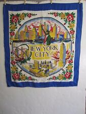 NEW YORK CITY blue & white scarf w illustrated Statue of Liberty + landmarks