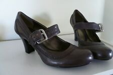 NATURALIZER WOMENS VERSTOOD MARY JANE LEATHER PUMPS BUCKLE HEELS GRAY 7.5M