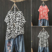 ZANZEA Women Summer Casual Loose T-Shirt Tops Short Sleeve Polka Dots Blouse Tee