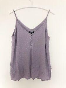 NEW LOOK Sz 12 40 Women Top Vest Buttons Camisole Purple Sleeveless L Tshirt