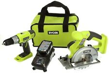Ryobi Cordless Power Tool Set Kit Circular Cutter Saw Driver Drill and Case 2