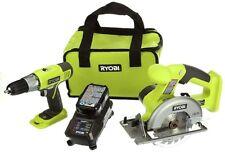 Ryobi Cordless Power Tool Set Kit Circular Cutter Saw Driver Drill and Case 2