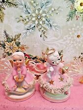 Vtg SET OF 2 PASTEL PINK LEFTON Christmas Angels W Candle Shining Gold Stars