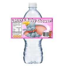 PINK DUMBO CUSTOM BABY SHOWER PARTY FAVORS GLOSSY WATER BOTTLE LABELS WRAPPERS