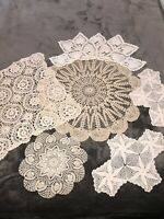 Lot of 6 Vintage Handmade Crocheted Doilies 3 White 3 Ecru Assorted Shapes VGC