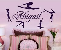 Personalized Name & Gymnasts Vinyl Wall Decals Custom Girls Name Dance Decor