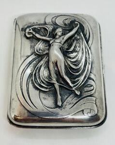Gorham Antique Art Nouveau Sterling Silver Lady Cigarette Case