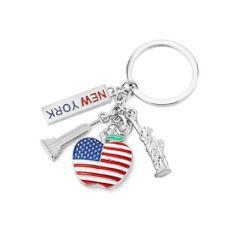 Keychain I love New York Statue of Liberty Apple USA Flag Keyring Souvenir Gift