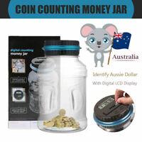 LCD Digital Electronic Counting Coin Bank Money Saving Box Jar Counter Bank AUD