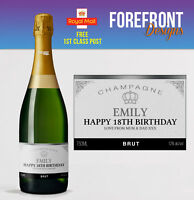 Personalised Champagne bottle label Perfect Birthday/Engagement/Graduation Gift