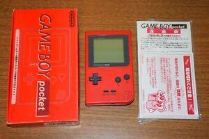 Game Boy Pocket RED Console MGB-001 Boxed CIB Nintendo Japan Import US Seller!