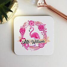 Flowers Watercolour Flamingo Pink Wooden Coaster Teacher Ladies Gift