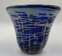 Rare ERIK EISERLING Art Glass Vase Signed 1986 Cobalt Blue 4 Inch