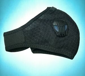 (Black) Athletic Mask With Anti-Pollution Breathing Valves