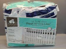 Just Born Fresh Air Crib Liner, Navy/Blue/White