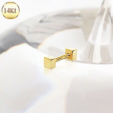 14K Solid GOLD Square Barbells CARTILAGE Daith Tragus EAR Rings Piercing Jewelry