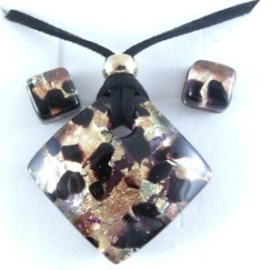 BLACK COPPER  AUTHENTIC VENETIAN MURANO GLASS NECKLACE EARRINGS JEWELRY SET 3MG