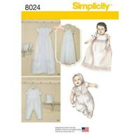 Simplicity Sewing Pattern 8024 Babies Infant Christening Sets Bonnets Size XXS-M