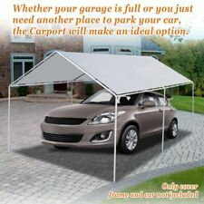 10'x20' Canopy for Carport Tent Garage Tarp Top Shelter Cover w Ball Bungees