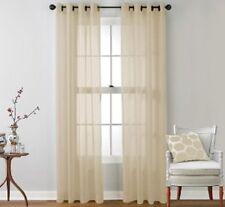 """2 Faux Silk Window Panel Semi Sheer Curtain Drape Grommet Beige 108"""""""