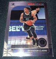 2019-20 NBA Hoops Premium Stock Brandon Clarke Base RC Rookie Grizzlies #217