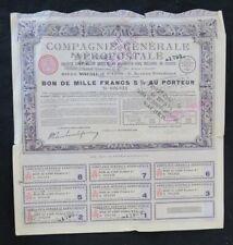 Action 1930 COMPAGNIE CENERALE AEROPOSTALE PARIS  titre bond share 3