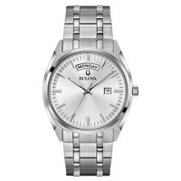 Bulova Men's Quartz Day-Date Calendar Silver Tone Bracelet 39 mm Watch 96C127