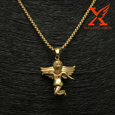 "Little Baby Angel Wings Stainless Steel Gold Pendant Necklace 24"" Chain"