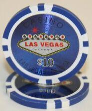 100 Blue $10 Las Vegas 14g Clay Poker Chips New - Buy 3, Get 1 Free