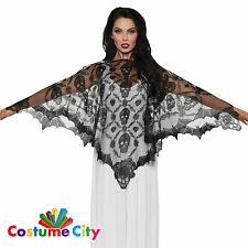 Adults Womens Elegant Vampire Lace Cape Poncho Halloween Fancy Dress Accessory