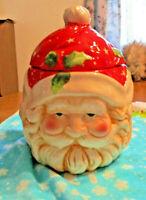 Vintage Decorative Displayable Festive 3 face Santa Claus Lidded Cookie Jar.
