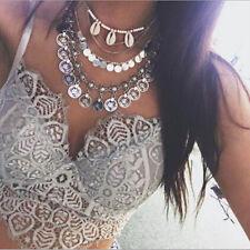 Women Vintage Chain Pendant Jewelry Chunky Statement Necklace Bib Choker