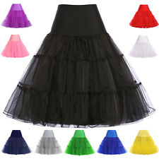 Women 50s Retro Underskirt Petticoat Fancy Full Circle Skirt Midi Swing Dress D2