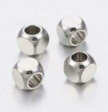 20Pcs 304 Stainless Steel Bead Square Jewelry Finding Loose Spacer