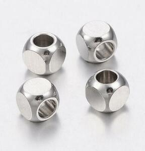 20Pcs 304 Stainless Steel Bead Square Jewelry Finding Loose Spacer Crafts DIY