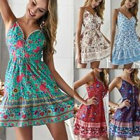 Women's Boho Floral Short Dress Party Evening Summer Beach Holiday Sun Dress N