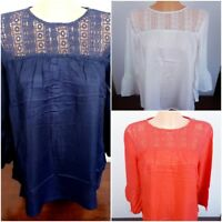 Ex Dorothy Perkins Ladies Summer Top Lace Ivory Navy Coral Size 8 - 20 RRP 25