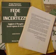 FEDE E INCERTEZZE, Ed. Paoline, Gruppo Piemontese Pastorale del Lavoro