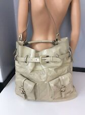Burberry Extra Large Beige Patent Leather Shoulder Bag New With Small Defects