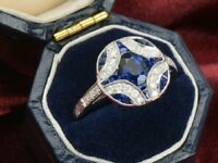 Engagement Wedding Ring Vintage Sapphire 2.3Ct Round Diamond 14K White Gold Over