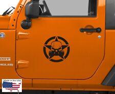 NEW GAS MASK SKULL Military Star Door Vinyl Decal 10x10 x2 (Fits Jeep Wrangler)