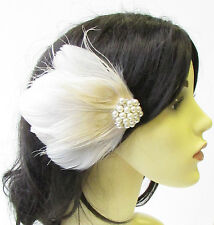 crème ivoire Paon Fascinator à PLUMES Pince cheveux perle Nuptial Coiffe 1894