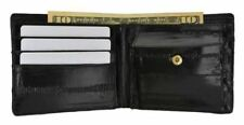Eel Skin Soft Leather Bifold Credit Card Wallet with Coin Pouch