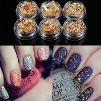 12Pcs Beauty Nail Art Gold Silver Paillette Chip Foil Paper Acrylic UV Gel Gifts