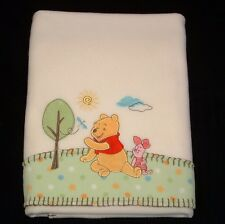 Cream Winnie The Pooh Piglet Tree Baby Blanket Fleece Green Dot Border Disney