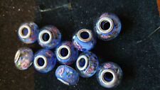 10 BLUE  GLASS BEADS WITH PINK ROSES